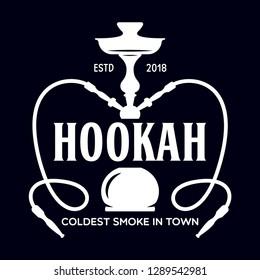 Hookah label, badge and design elements. Hookah club. Shisha bar. Hookah lounge logo. Hookah pipes. Vector vintage illustration.