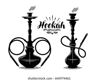 Hookah label set. Shisha, hooka, waterpipe, hubble-bubble, nargile icon or symbol. Vector illustration