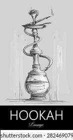 Hookah Lounge Bar Menu, Nargila Sketch (vector Art)