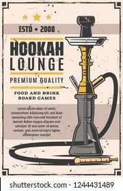 Hookah lounge bar retro poster. Smoke shop with food and drinks, board games. Hookah club and house emblems vector. Instrument for vaporizing and smoking flavored tobacco with tube