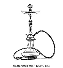 Hookah.  Pencil drawing. Hand Drawn Illustration
