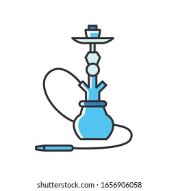 Hookah RGB blue color icon. Sheesha house. Hooka shop. Nargile lounge. Odor from pipe. Scent of vaporizing. Smoking area. Accessories for shisha. Oriental nargila. Isolated vector illustration
