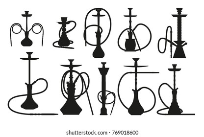 Hookah silhouette set with pipe for smoking tobacco and shisha. Collection isolated on white background. Vector illustration