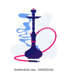 Hookah with smoke stylized flat illustration. Vector icon Shisha.
