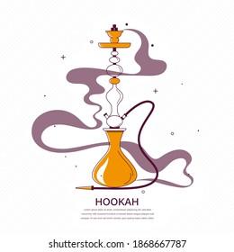 Hookah with smoke stylized flat illustration. Vector icon Shisha.