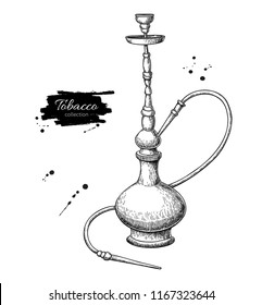 Hookah vector drawing. Hand drawn vintage shisha illustration. Smoking equipment.  Engraved isolated objects. Great for shop label, emblem, sign, packaging