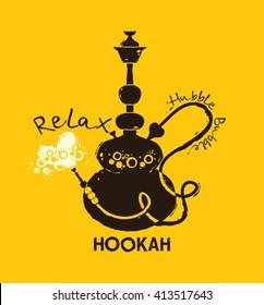 Hookah vector illustration of hookah with smoking pipe, hubble bubble, oriental bar.