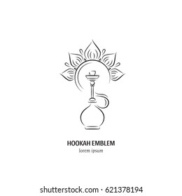 Hookah vector logo design in trendy linear style. Hookah  icon isolated on white background. Hookah  label. Smoking hookah perfect for lounge cafe emblem, arabian bar or house, shop.