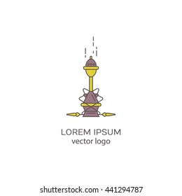 Hookah vector logo template trendy linear style, isolated on white background.