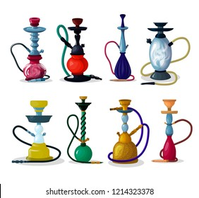 Hookah vector tobacco hooka smoke pipe arabic shisha and smoking hubble-bubble illustration set of turkish aroma tube object for relaxation isolated on white background