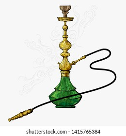 Hookah,calabash, hooka, chillum,hubbly bubbly, shisha.Vector Isolated hookah hand drawn sketch illustration.Smoke, smog.