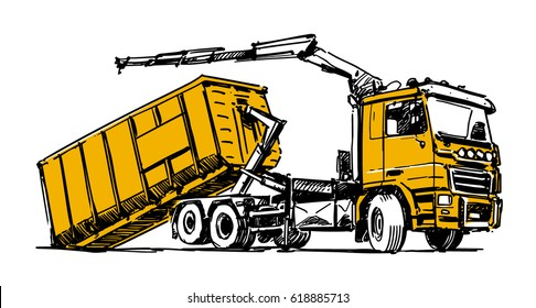 hooklift hoist truck illustration