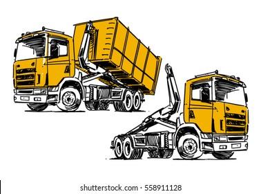 Hooklift hoist truck sketch isolated on white background