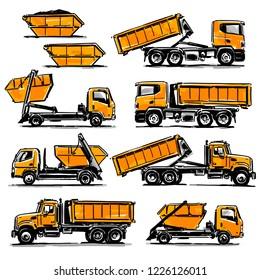 Hook-Lift Trucks set. Hand drawn illustration
