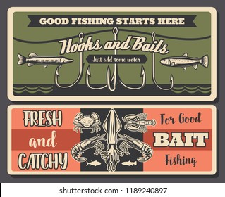 Hooks and baits fishing banners, fishery equipment. Vector crayfish and crabs, shrimps and octopus, pike and perch silhouettes. Fish, fishery gear, fishing sport hobby retro poster