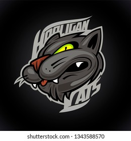 Hooligan cats vector logo design concept on dark background, sport infographic team pictogram, t-shirt tee print