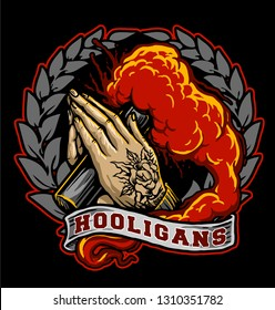 hooligan hand with red smoke bomb or flare