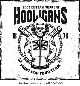 Hooligan skull in hoodie vintage print with two crossed baseball bats vector illustration