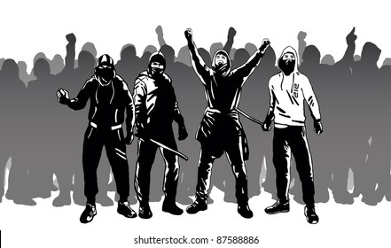 Hooligans and street riots vector image