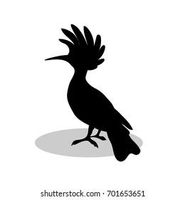 Hoopoe bird  black silhouette animal. Vector Illustrator.
