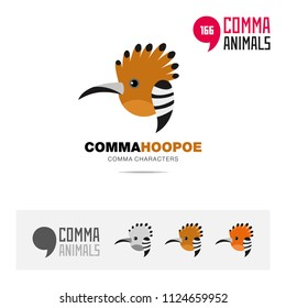 Hoopoe bird concept icon set and modern brand identity logo template and app symbol based on comma sign