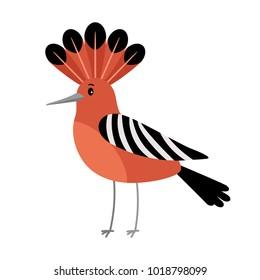Hoopoe cartoon colorful bird icon on white background, vector illustration