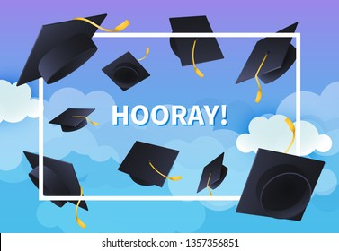 Hooray festive banner design. Text in frame and flying graduation hats on blue cloudy background. Illustration can be used for posters, banners, commencement ceremony