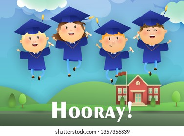 Hooray graduation poster design. Joyful graduates wearing mortarboards and gowns, college and lawn in background. Illustration can be used for banners, flyer, commencement ceremony