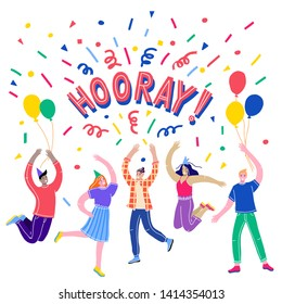 Hooray lettering. Hooray card,vector illustration. The concept of a birthday. Happy young people jump, celebrate the holiday. Cartoon characters.