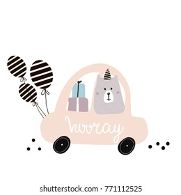Hooray quote. Cute polar bear on cartoon car. Greeting card, posters, apparel