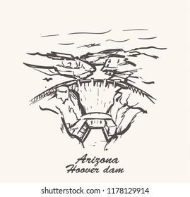 Hoover dam hand draw,Arizona sketch vector illustration