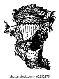 Hoover Dam - Retro Clipart Illustration