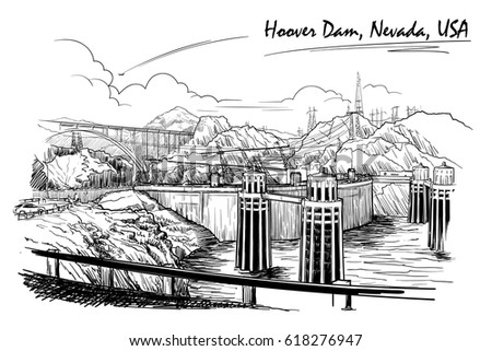 Hoover Dam Stunning Panoramic View Black Stock Vector Royalty Free