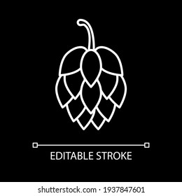 Hop for beer brewing white linear icon for dark theme. Ingredient for alcohol production. Thin line customizable illustration. Isolated vector contour symbol for night mode. Editable stroke