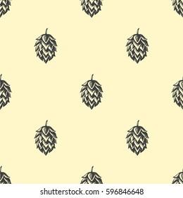 Hop beer seamless pattern background set