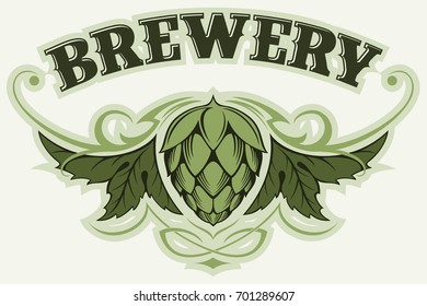 Hop branch, brewery vector logo.