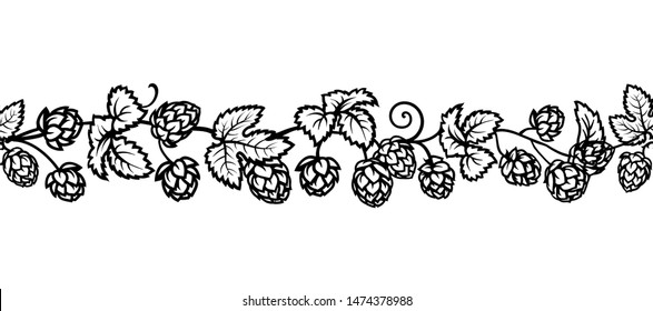 Hop branches with cones and leaves seamless border. Brewery, beer festival, bar, pub design elements in vintage engraving style. Hand drawn vector illustration isolated on white background.