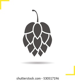 Hop cone icon. Drop shadow silhouette symbol. Negative space. Vector isolated illustration