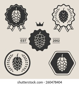 Hop craft beer sign symbol label element