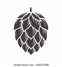 Hop emblem icon label logo. Vector illustration.