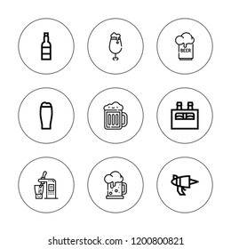 Hop icon set. collection of 9 outline hop icons with beer can, blaster icons. editable icons.