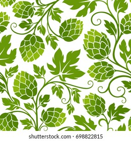 Hop seamless pattern. Ornamental background for brewery products design