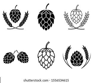 Hop set icon, logo isolated on white background