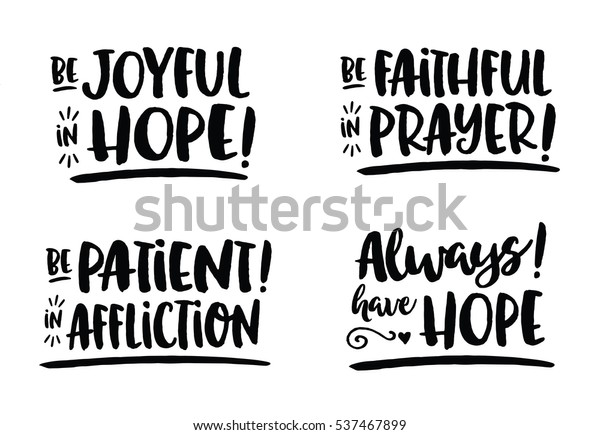 Hope Bible Scripture Phrases Collection Romans Stock Vector (Royalty