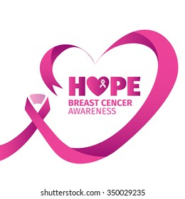 HOPE Breast Cancer Awareness Pink Heart Ribbon vector