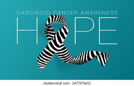 Hope. Carcinoid Cancer Awareness Calligraphy Poster Design. Realistic Zebra Stripe Ribbon. November is Cancer Awareness Month. Vector Illustration