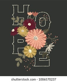hope flowers embroidery vector
