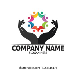 hope hand charity love compassion vector logo design template