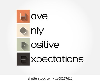 HOPE - Have Only Positive Expectations acronym, concept background