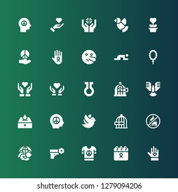 hope icon set. Collection of 25 filled hope icons included Voluntary, Cancer, Peace, Dove, Ngo, Freedom, Donation, Life, Donate, Give love, Prayer, Liar, Charity